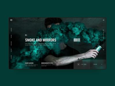 Photography Web Design Concept mirros smoke green website digital design homepage modern landing page blogger minimal clean simple web  design web ux ui