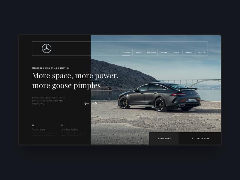 Mercedes Benz Web Design Concept digital homepage modern minimal clean simple design blogger automotive mercedes-benz cars landing page hero website web  design web ux ui
