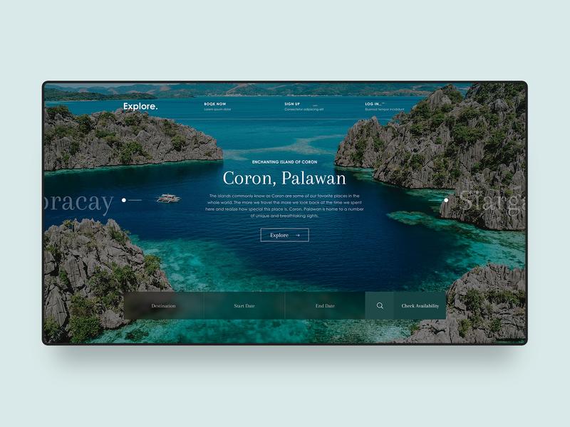Travel Web Design Concept vacation island green travel banner agency website digital design web design web homepage ux modern landing page ui blogger minimal clean simple