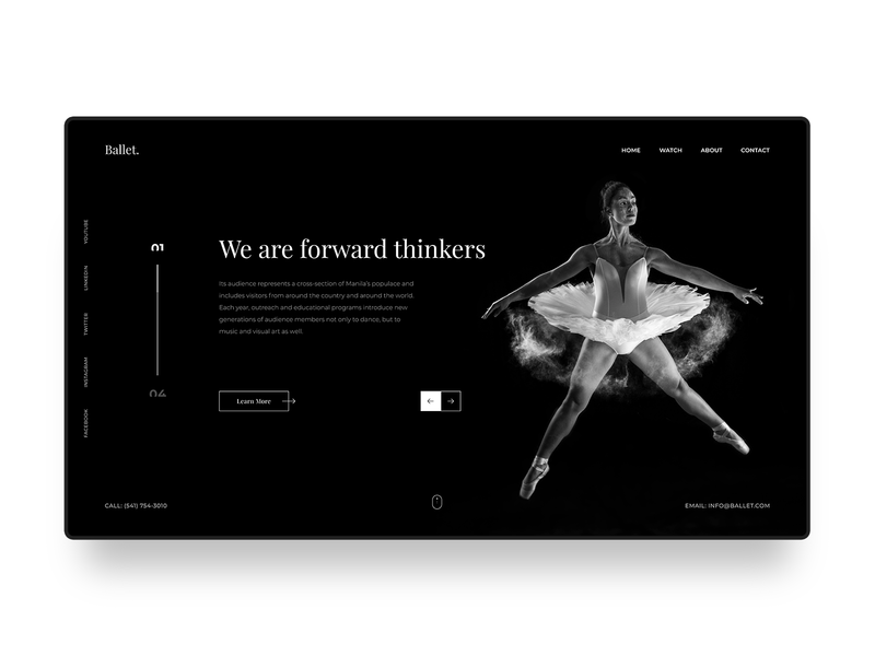 Ballet Web Design Concept digital serif classy dark black dance ballet banner blogger minimal clean simple web design homepage modern landing page website web ux ui