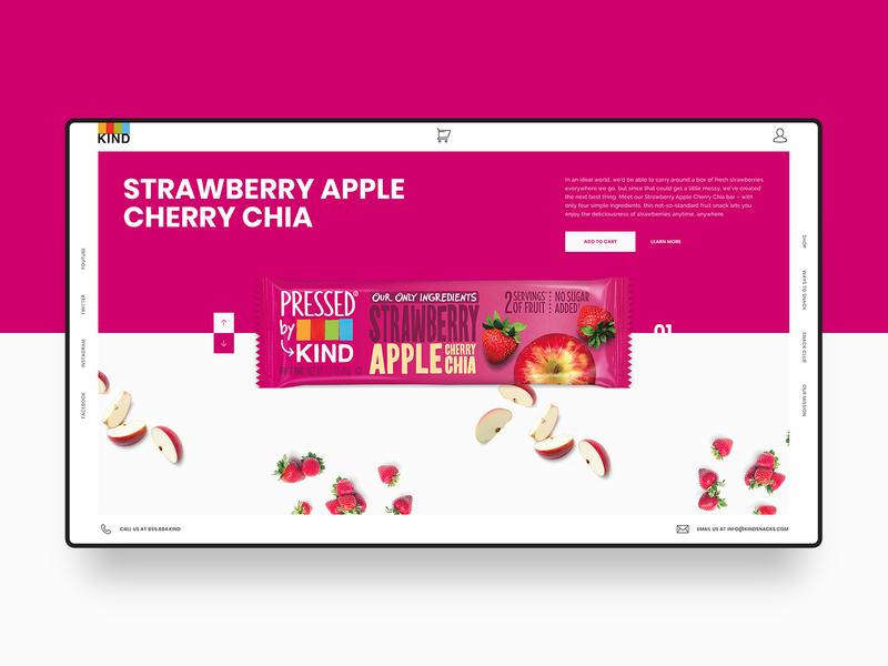 Kind Snacks Web Design Concept colorful apple strawberry fruits pink snacks agency digital homepage modern blogger minimal clean simple hero banner landing page web  design web ux ui