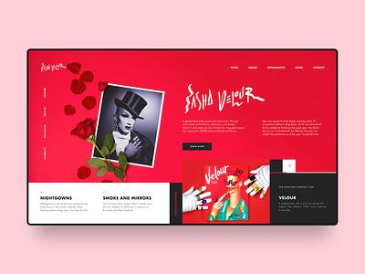 Sasha Velour Web Design Concept rupaul rpdr rose sasha velour drag drag queen minimal clean simple agency design website digital web design web homepage modern landing page ux ui