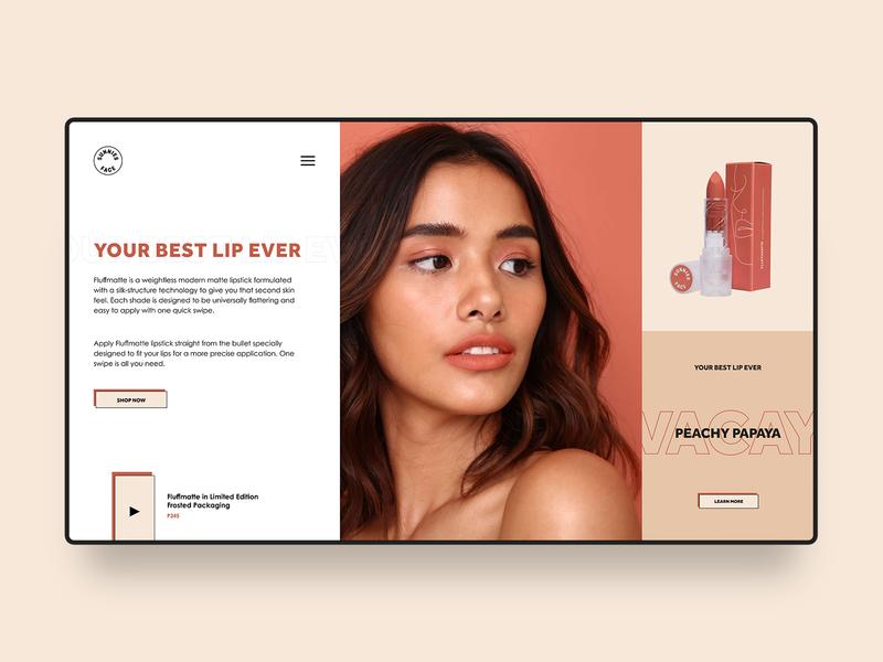 Sunnies Face Web Design Concept cosmetics ecommerce lipstick makeup beauty retro minimal clean simple website design web design digital web homepage modern landing page ux ui