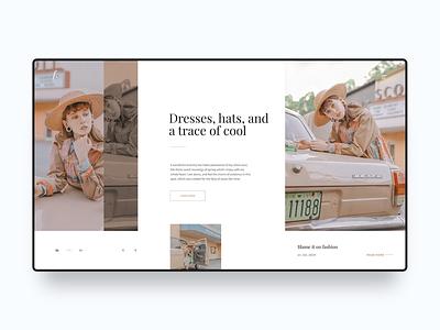 Fashion Blog Web Design Concept hats blog fashion web design homepage ux modern ui landing page minimal clean simple