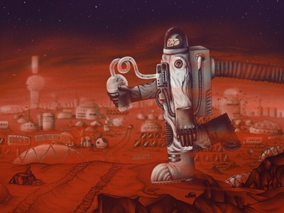 Commercialisation of space editorial future turism red spacesuit suit astronaut space mars grain bold noise lines design illustration graphics peter other