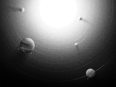 Solar system poster grey noise grain cosmos space design illustration peter other