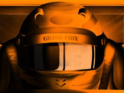 F1 Grand Prix car club halftone texture noise grain helmet automotive racing grand prix f1 car design illustration after other motion graphics