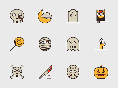 Halloween Icons zombie pumpkin candy owl tombstone ghost moon skull outline icons halloween