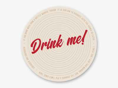 "Alice in Wonderland ""Drink me!"" quotes coaster sticker mule"