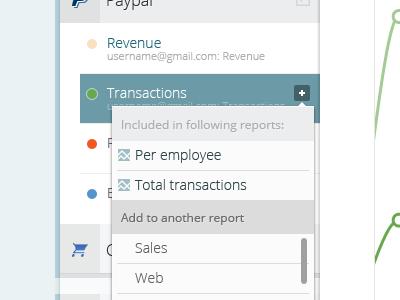 Analytics App: Dropdown dropdown ui user interface app application web tabs sidebar