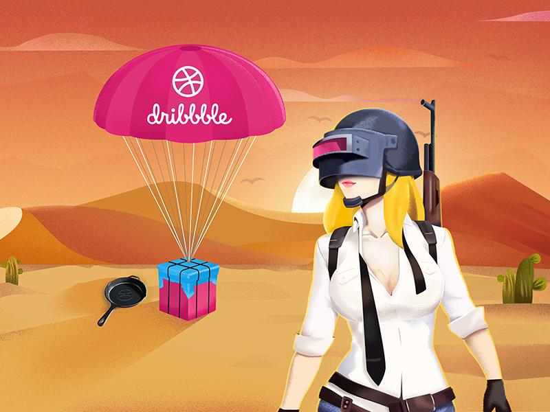 Hello Dribbble paradrop pan gun banner pubg invites illustration dribbble hello shot first
