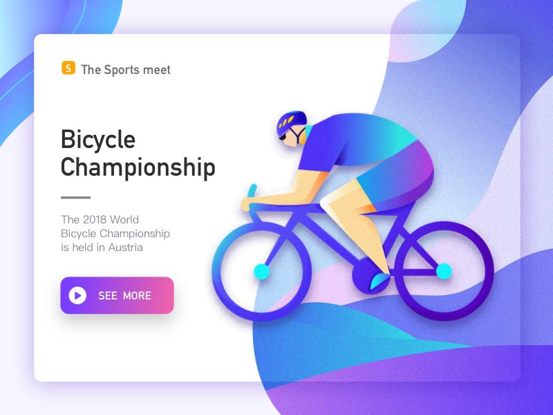 Bicycle championship purple,people bicycle web ui page landing illustration gif design cords banner