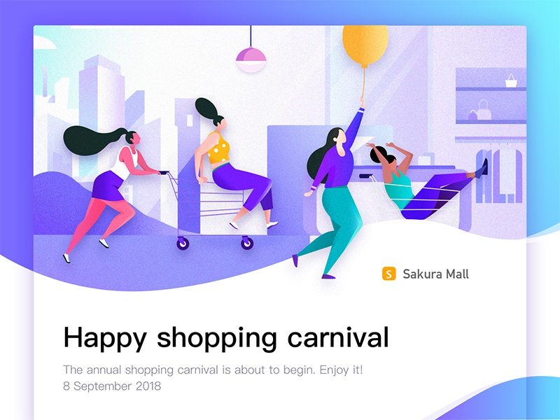 Happy shopping carnival purple shopping web ui mall landing illustration trolley design app cords banner
