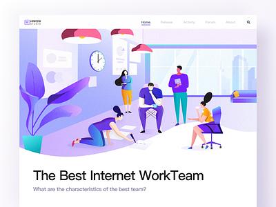 The best internet team work team people purple web page landing illustration design app banner hiwow