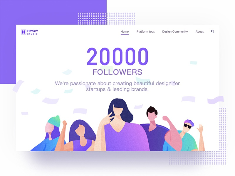 Hiwow20000 followers! purple followers people web landing illustration design cords hiwow banner