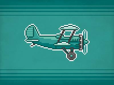 Plane Pixel ⎜ Pixel Art biplane videogame pixel art pixel avion plane vector illustration design green aurélien tardieu