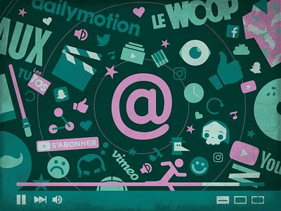 FRAME ⎜ Illustration youtuber youtube pink green blue illustrator vector animation branding design illustration video frame aurélien tardieu
