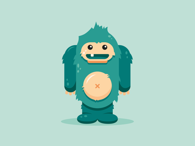 Little Monster ⎜ Illustration yeti draw blue monster illustrator aurélien tardieu design green vector illustration