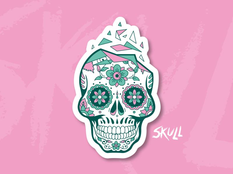 Pink Skull vector sticker design illustrator die muerte skeleton crane skull illustration illu pink green aurélien tardieu