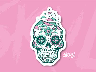 Pink Skull ⎜ Illustration death vector sticker design illustrator muerte skeleton crane skull illustration illu pink green aurélien tardieu