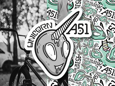 A51 ⎜ Illustration clothes streetwear logotype branding bmx ufo green logo vector typography illustration sticker alien unicorn aurélien tardieu