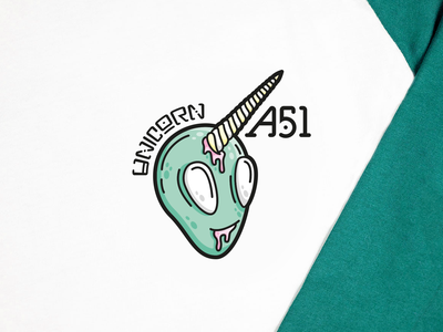 A51 ⎜ Illustration stars rocket clothes ufo unicorn alien streetwear vector branding typography green logo illustration design aurélien tardieu