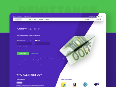 Remittance Services Website [Concept] send money remit fancy currency clean