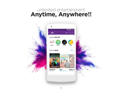 Entertainment app .. Movies, Shows & Music young responsive bright omnichannel vibrant flashy aggregator entertainment fresh
