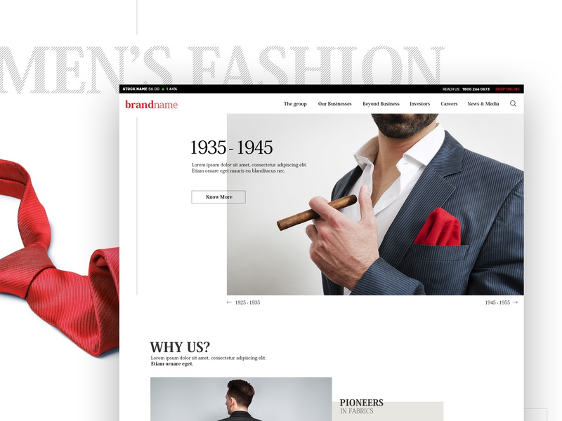 Men's Corporate Fashion - Parallax Website [Concept] corporate sortfilter minimal style contemporary fashion products ecommerce elegant clean neat