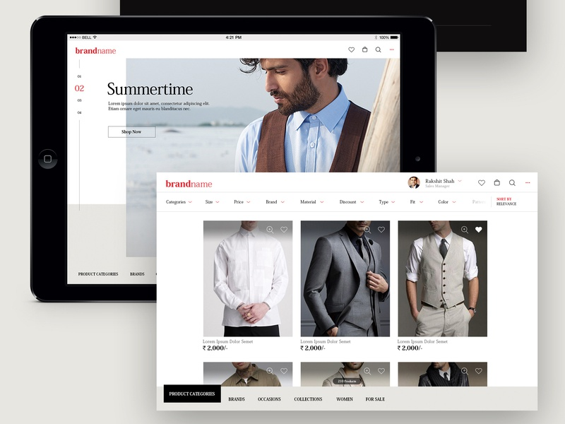 Men's Corporate Fashion - iPad App [Concept] corporate sortfilter minimal style contemporary fashion products ecommerce elegant clean neat