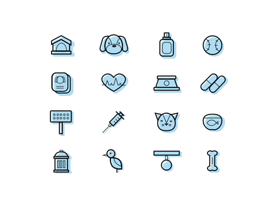 Animal shelter icons clinic veterinary shelter pets icons icon animals ux ui