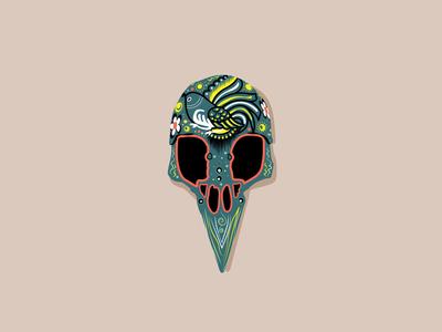 Day of the Dead Skull - Bird