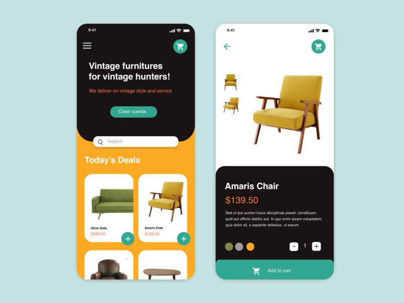 Vintage Furniture App branding ux design uidesign ui  ux ecommerce app