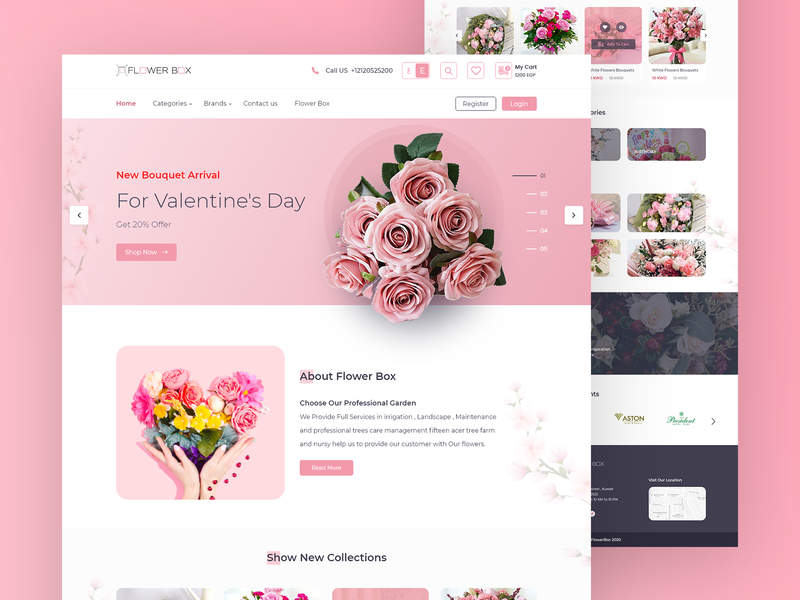 Flower Shop UI Design flower bouquet planet cart shopping app website ios mobile app ui ux web design store app store homepage landing page pink flowers pinky flowershop flowers