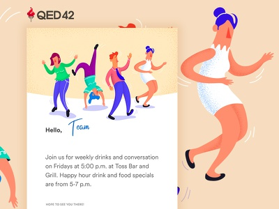 Newsletter: Happy Hour dance music design illustration office party happy hour