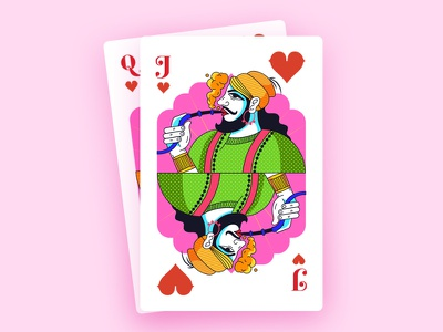 Jack Of Heart queen jack playing card india design illustration