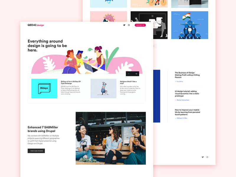 qed42.design casestudy parallax one page site uiux agency landing page design landing page