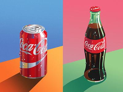 Coke Illustrations illustration coca-cola bottle coke art coke can coke bottle vector illustration illustrator digital illustration product illustration cocacola coke coca-cola