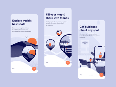 Travel mobile application mobile design figma explore location travel pin photo map onboarding interface mobile application graphic design ux ui vector typography icon app illustration design