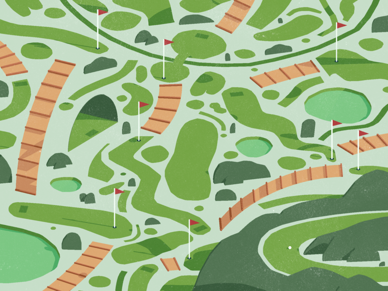 Minigolf 3d vector illustration