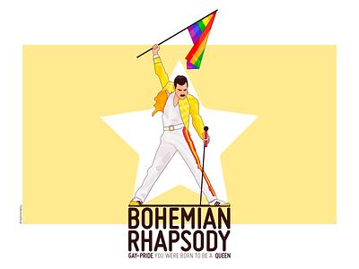Freddie Mercury - TheMushroomDesign cartoon cartooning pride gaypride gay queen freddie mercury mercury freddie design flat vector flat illustration vectorart themushroomdesign flatdesign colorful illustration