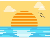 Ocean Sunset flat graphic