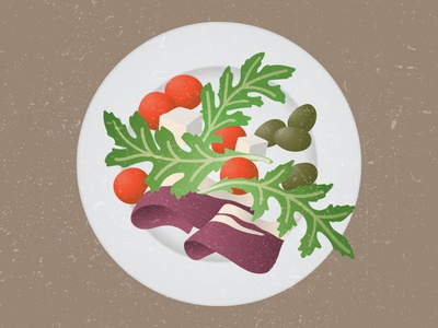 Plate illustration vector prosciutto tomatoes olives feta arugula rucola salad food plate