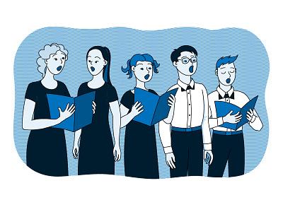 Singers illustrator adobe illustration vector children people music singing singers choral choir