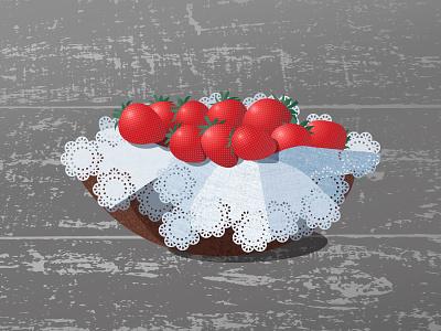 Napkin eyelet pattern texture napkin berry strawberry food illustrator adobe illustration vector