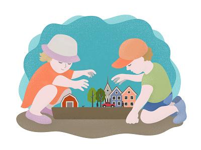 Small Town building town play children child illustrator adobe illustration vector