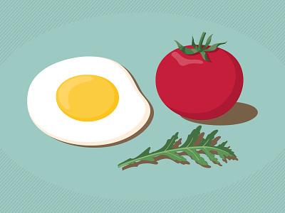 Egg And Tomato ruccola tomato egg food illustrator adobe illustration vector
