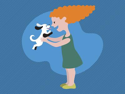 Puppy girl puppy dog child animal illustrator adobe illustration vector