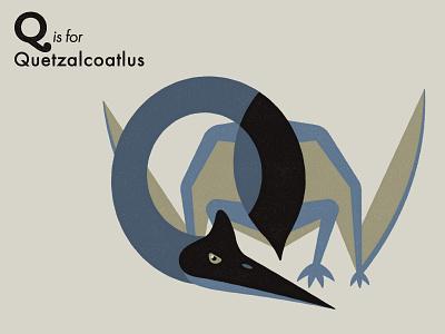 Q is for Quetzalcoatlus reptile pterosaur dinosaur alphabet letter extinct animal illustrator adobe illustration vector