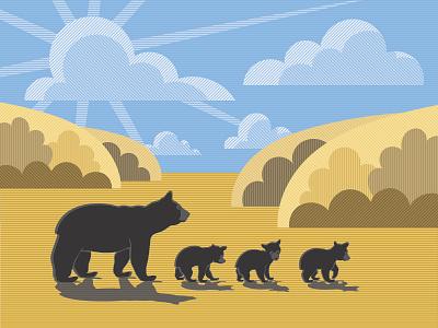 Fall autumn fall bear cub black bear nature landscape cub bear animal illustrator adobe illustration vector